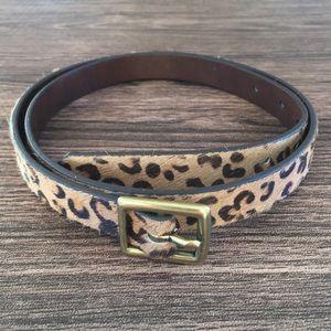 Animal print calf hair skinny belt sz L